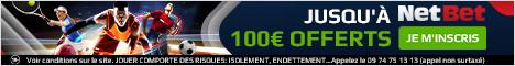 100 euros cash + 10 euros offert chez netbet ?id=110864&bid=530&lang=fr